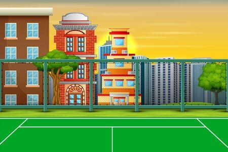Cartoon background with sport field in city landscape