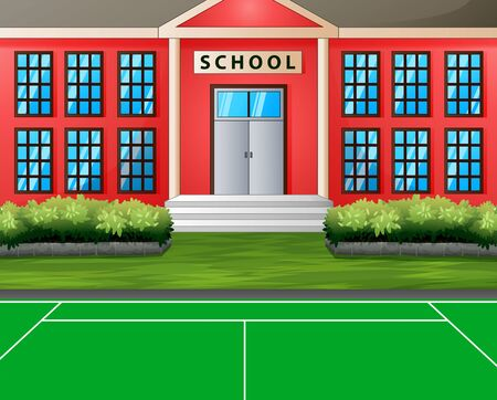 Sport field in front the school building Illustration
