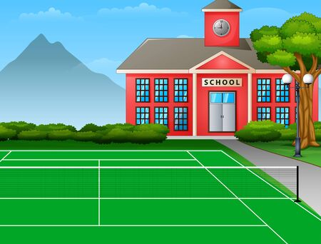 Outdoors tennis court with the school building