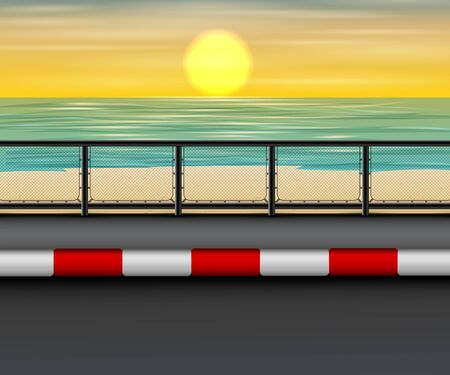 Landscape of road at the beach in sunset Illustration
