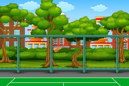 Cartoon background with sport field in city