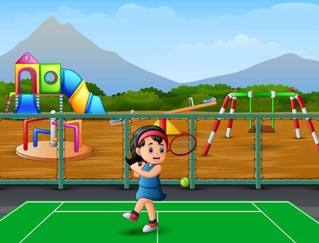 Cartoon a little girl playing tennis
