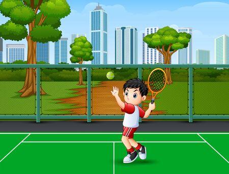 A cute little boy playing tennis Ilustração