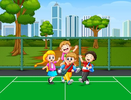 Happy children playing at the court