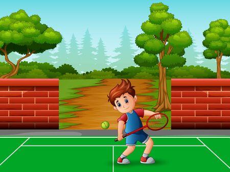 A cute little boy playing tennis Çizim