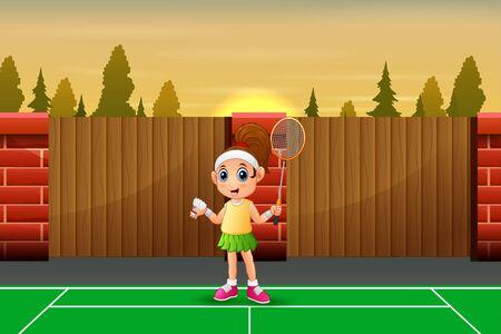 Funny girl cartoon playing badminton Stock Illustratie