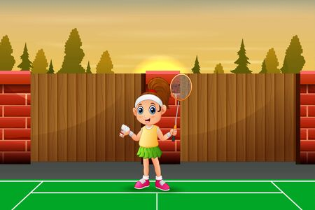 Funny girl cartoon playing badminton Illustration