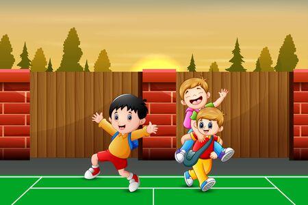 Cartoon children going home after school
