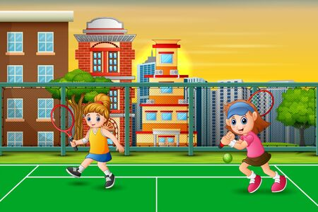 Featuring girls playing tennis at the court