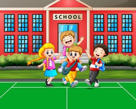 Cartoon the children going home after school