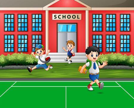 Happy children going home after school