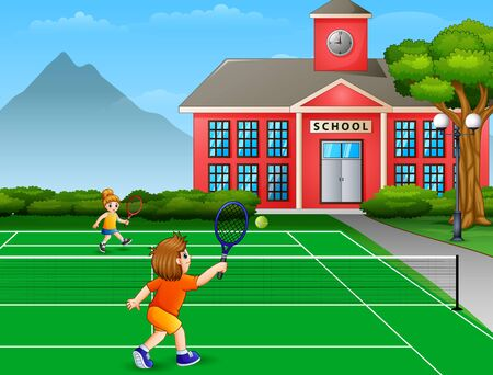 Featuring boy and girl playing tennis at school court Illustration