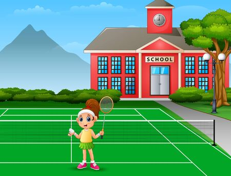 Happy girl playing badminton at school court