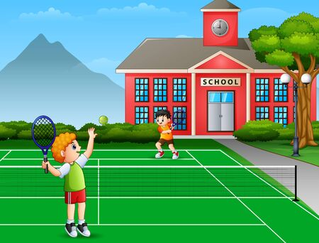 Featuring boys playing tennis at school court