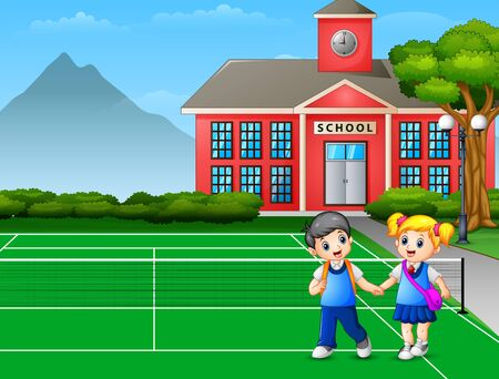Cartoon a boy and girl going home after school