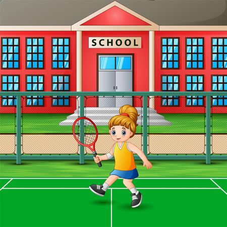 Happy girl playing tennis at school court