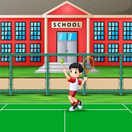 Happy boy playing tennis at school court