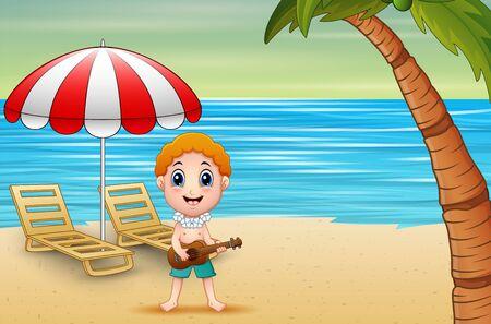Boy playing guitar on the seaside Stock Illustratie