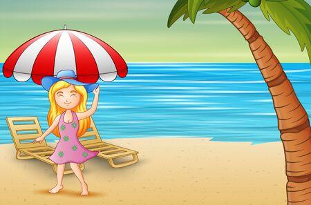 Beautiful woman in blue hat having fun on the beach