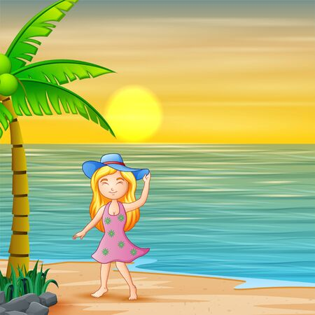 A girl in blue hat standing by the beach at sunset