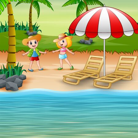 Funny children on the beach in a straw hat