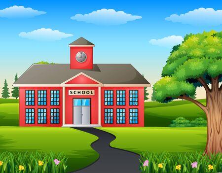 Background of road scene toward school building