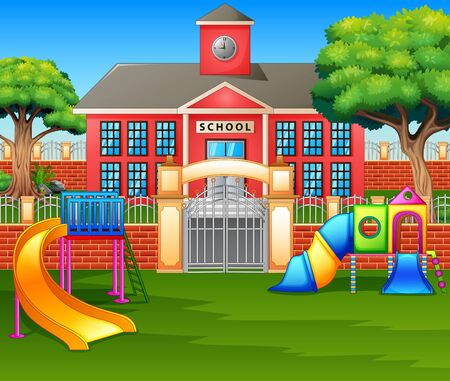 Área de juegos para niños frente al patio de la escuela.