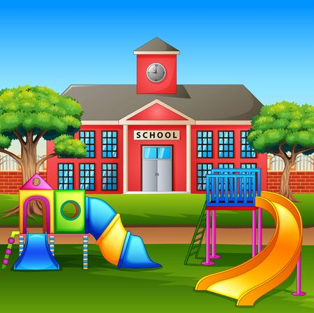 Kids playground area in front the school yard
