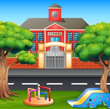 Kids playground area in front the school building