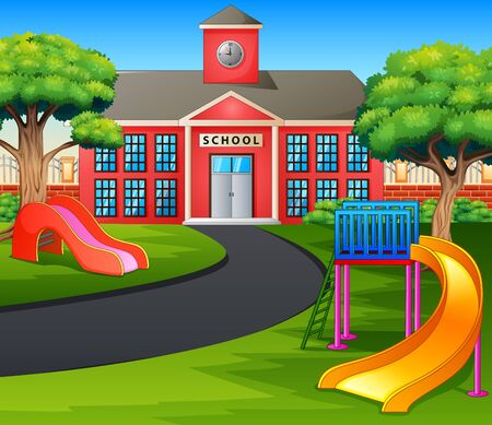Scene with school building and playground 일러스트