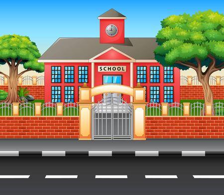 Modern school building exterior with highway