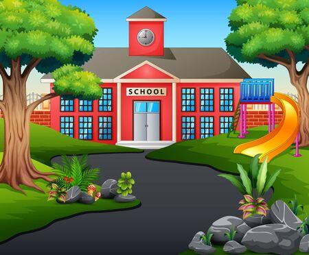 A road scene toward school building with slide