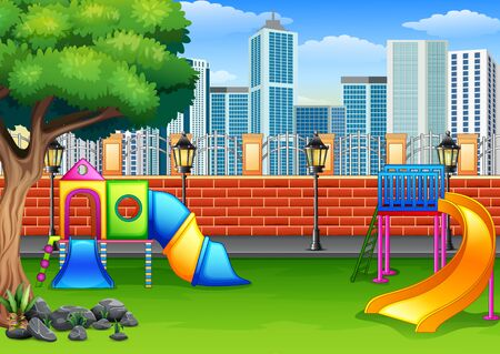 Background of playground in the park city