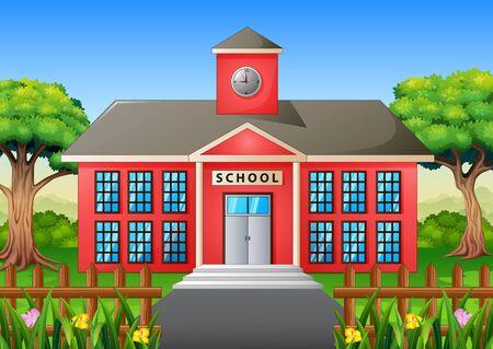 Cartoon of school building with green yard