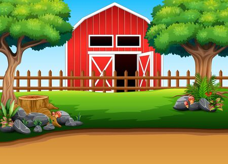 Farm landscape with red shed in the middle of the nature Illustration