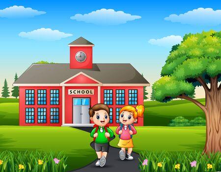 Happy children with backpack on school building background Vektorové ilustrace