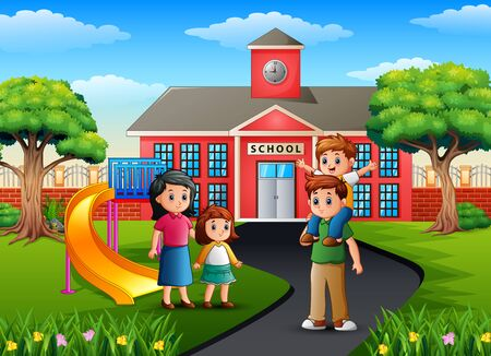 Happy family member in front of the school building