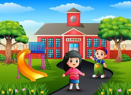 Cartoon two kids going to school