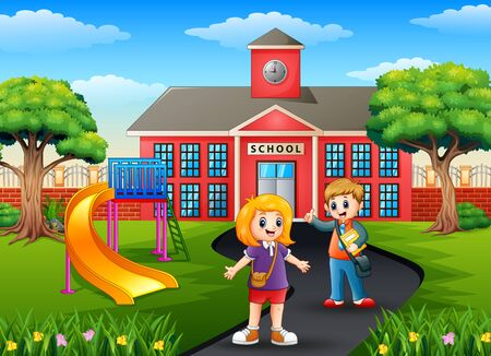 School boy and girl with backpacks in front of school building 일러스트