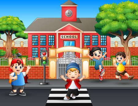 Happy boys crossing the road 向量圖像