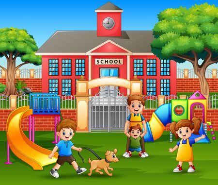 Happy children and family enjoying in playground 일러스트