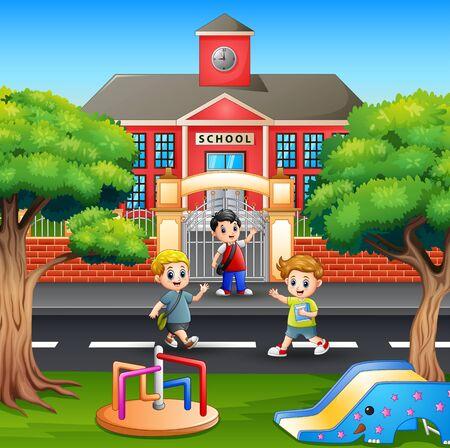Children crossing the street in front school Stock Illustratie