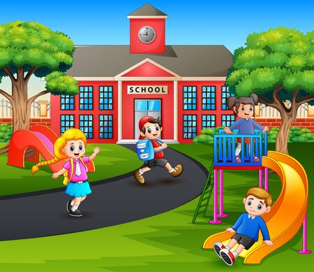 Happy kids playing in the playground after school Illustration