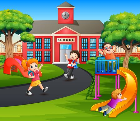 Happy kids say goodbye after school