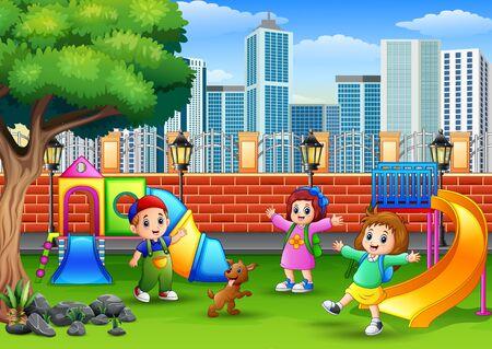 Enfants heureux jouant sur un parc public Vecteurs