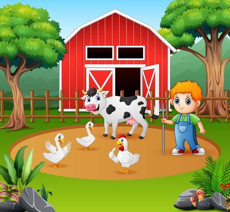 A farmer and farm animal in the farmyard