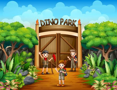 The explorer boy and girl in dino park Illustration