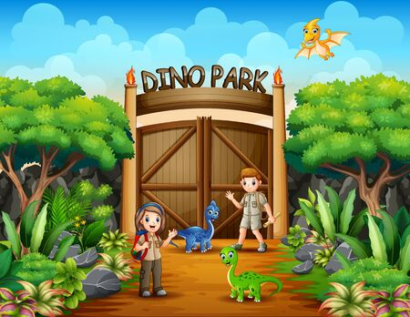 The explorer boy and girl in dino park 일러스트