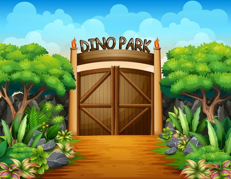 The big gate of dino park background