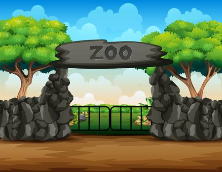 Background scene of zoo park with big gate